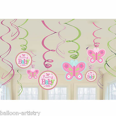 12 Little Pink WELCOME Baby Girl Shower Party Hanging Cutout Swirls Decorations