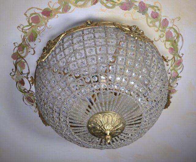 Antik Deckenlampe Lampe Stil Messing Glas Deckenleuchte Leuchte Hängelampe Decke