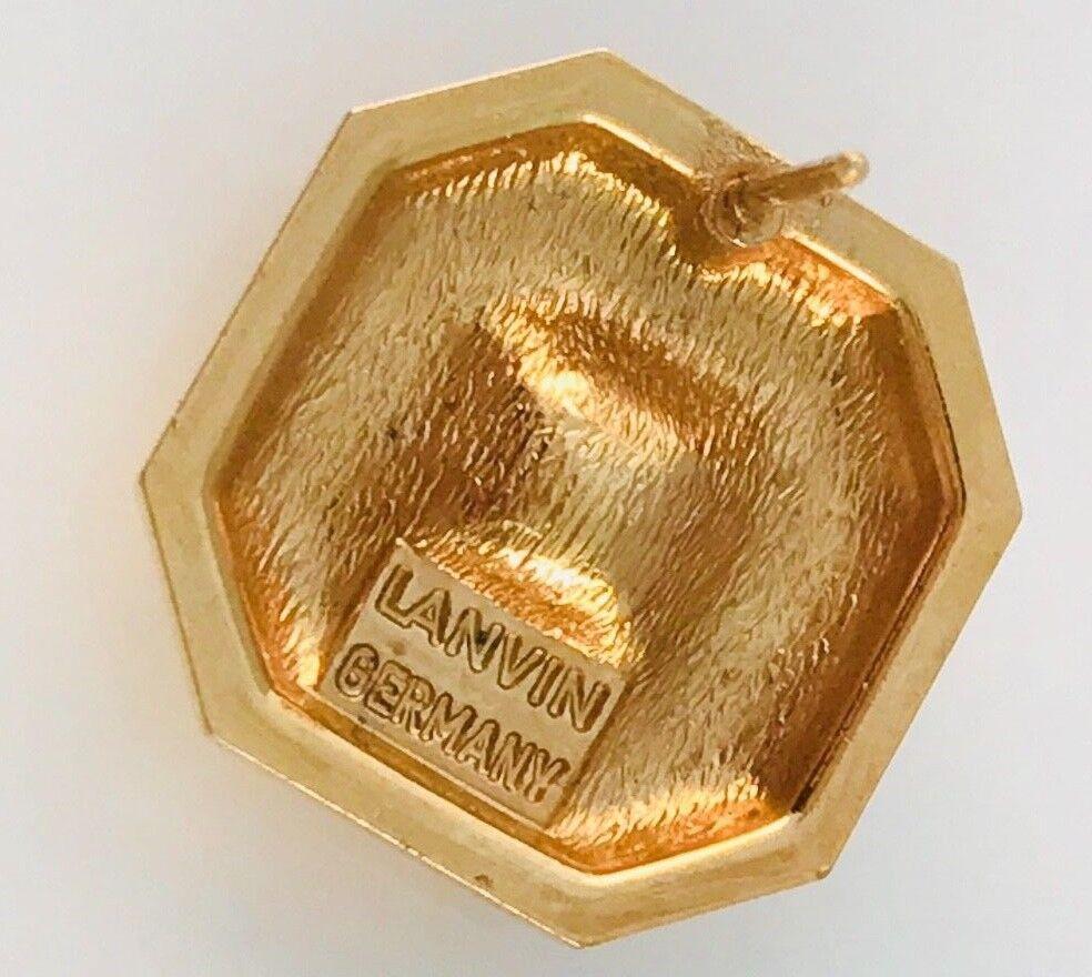 Vintage Lanvin Gold Tone and hematite Square earr… - image 7