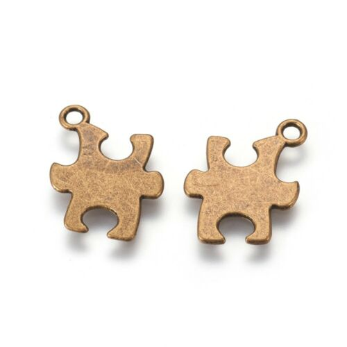 10 Puzzle Piece Charms Pendants Stamping Blank Autism Awareness Antiqued Bronze