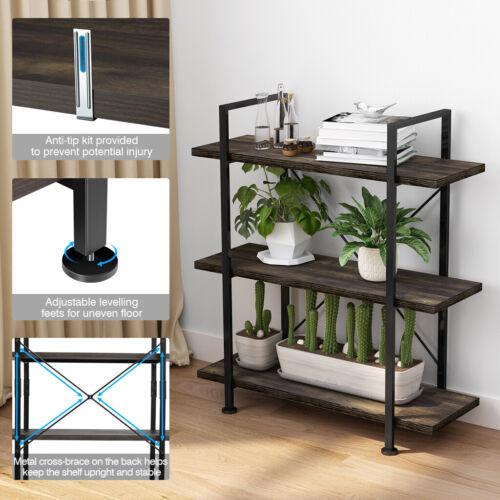 Vintage 3-Tier Industrial Bookcase Storage Rack Bookshelf Home Office Furniture