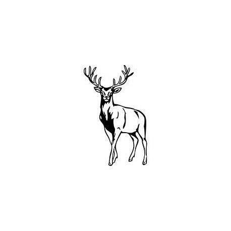 Autocollant Cerf stickers adhesif animal cervidé logo 3 rouge 4 cm