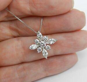 3-ct-Marquise-Round-Diamond-Cross-Design-Wedding-Pendant-chain-14k-White-Gold-Fn