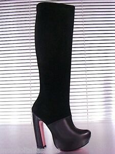 High 44 Stiefel Black Boots Italy Leather Nero Mori Knee Platform Real Stivali wAxat