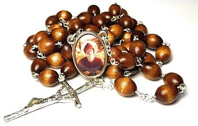 St Charbel Makhluf brown wooden relic rosary Maronite monk priest from Lebanon