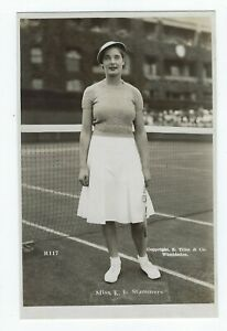 RPPC-Miss-K-E-Kay-Stammers-American-Tennis-player-c-1930s-Dated-JFK
