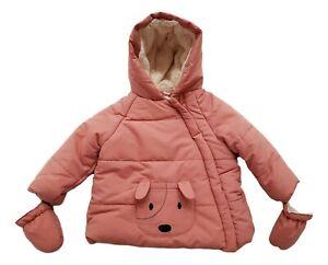 Baby-Girls-Ex-Jo-n-Lew-s-Winter-Coat-Jacket-Hooded-Fleece-Lined-Warm-3m-3y