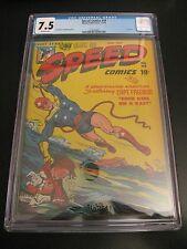 Wow! SPEED COMICS #44 (Last Issue!) 1947 CGC 7.5 Joe Kubert! OW Pgs! Very Nice!!
