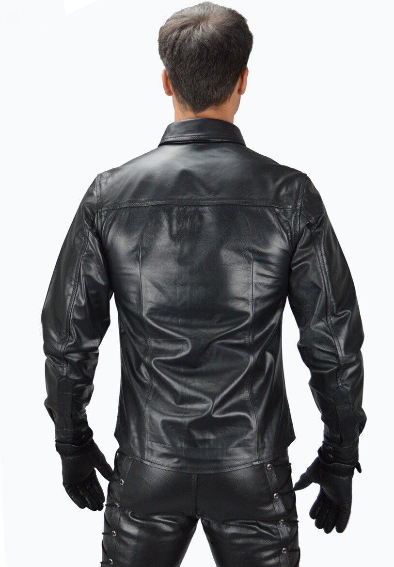 Neu Lederhemd mit Schnürung langarm Schnürhemd Gothik Leather shirt cuir chemise