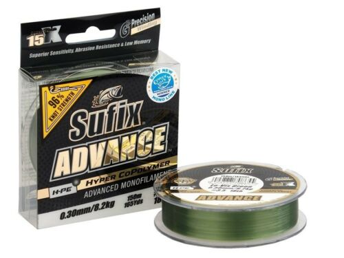 Sufix Advance Lo-Vis Green 150m 0.16mm-0.30mm Monofilo