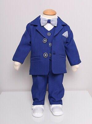 Babyanzug 6-tlg Taufanzug Festanzug Jungen Babyset Anzug  Weiß// Blau Gr 56//62