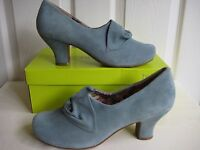 Hotter Donna Suede Heel Shoes. Aqua. Size 5 1/2 Exf Wide Fit. Rrp £85. Bnib