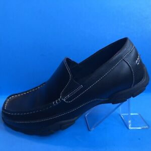 Perry-Ellis-America-Men-039-s-034-Prepp-034-Black-Leather-Loafer-Shoes-Size-10