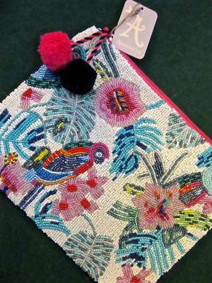 New ACCESSORIZE Ivory PARROT Crystal Beaded PomPom Floral Evening Clutch BAG