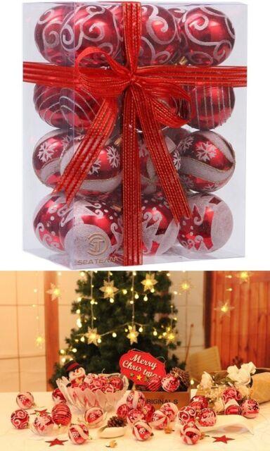 Painting Glittering Shatterproof Christmas Balls Ornaments Hanging Baubles Set