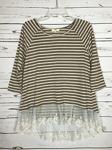 Kori America Boutique Women's S Small Ivory Lace Striped Spring Tunic Top Shirt