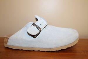 Beaver-Creek-Womens-Clogs-Slide-Shoes-Sz-8-Blue-Suede-Mules-Slip-On-Comfort