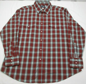 NWT new WRANGLER Blue red black Plaid Pearl Snap Western S//S SHIRT Mens 2XL XXL