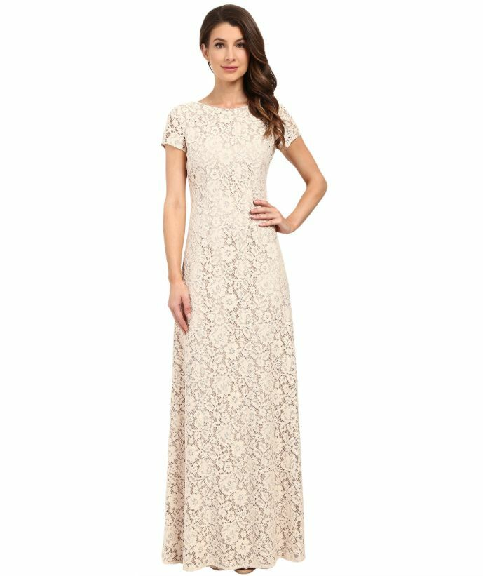 MAGGY LONDON ALICE CAP SLEEVE LACE IN FAWN GOWN DRESS sz 0