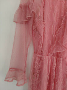 Topshop-Pink-Victoriana-Lace-Flute-Sleeve-Frill-Dress-UK-10-12-14-EU-38-40-42