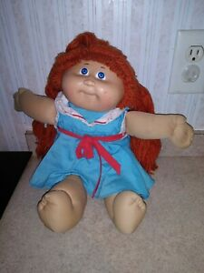 RED HEAD 1982 Appalacian CABBAGE PATCH DOLL Long Hair Blue Eyes Dimple Vintage