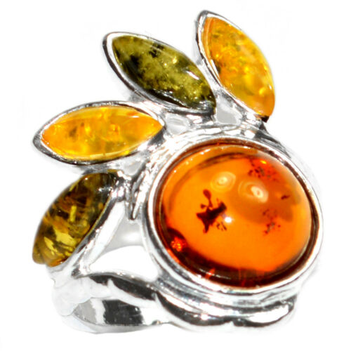 4.0g Authentic Baltic Amber 925 Sterling Silver Ring Jewelry N-A7447