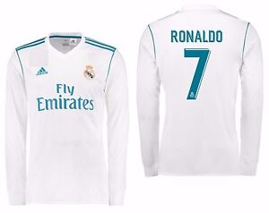 cheap for discount 315b0 0dbe8 Details about ADIDAS CRISTIANO RONALDO REAL MADRID LONG SLEEVE HOME JERSEY  2017/18.