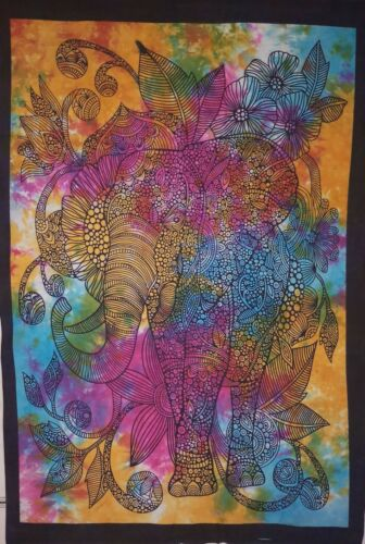 Multi Color Tie Dye Throw Wall Tapestry Cotton Hanging Decor Hippie Boho Posters