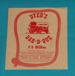 Details About Dyer S Bar B Que Barbecue Restaurant Menu Amarillo Pampa Wichita Falls Texas