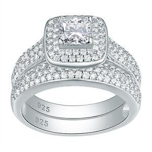 Women-Halo-Princess-Cz-925-Sterling-Silver-Wedding-Engagement-Ring-Set-Size-5-12