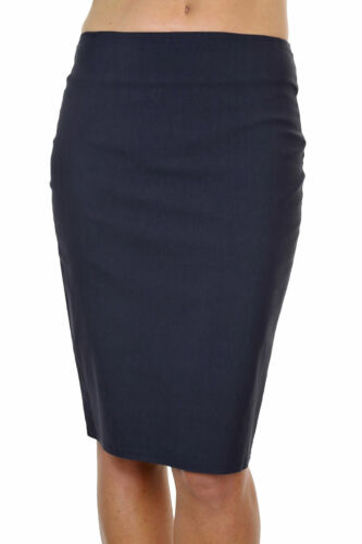 """Ladies Office Stretch Pencil Skirt 22/"""" Smart Casual Navy Blue  NEW 6-18"""