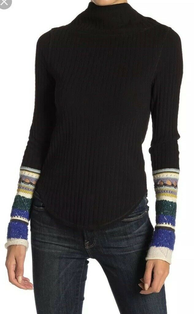Free People Mixed Up Mitten Cuff Cute Farbeful Mock Neck Thermal Top Sweater