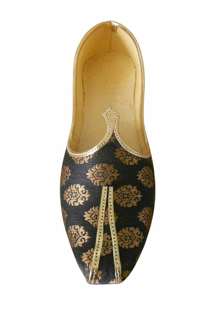 Men shoes Indian Handmade Wedding Groom Loafers Black Mojari UK 5.5 EU 39