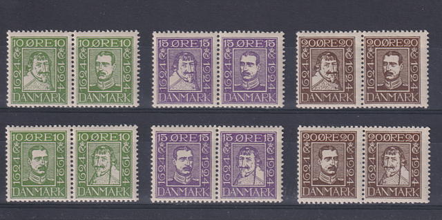 DENMARK  1924: MNH set (12) Sc# 164/75 c.v. $168 · a little gum disturbance