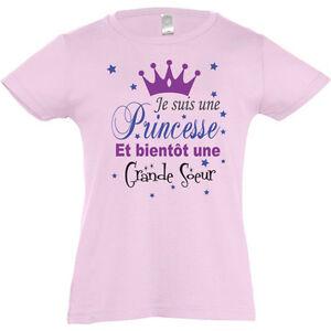 Tee-shirt-ROSE-fillette-034-Je-suis-une-princesse-et-bientot-une-grande-soeur-034