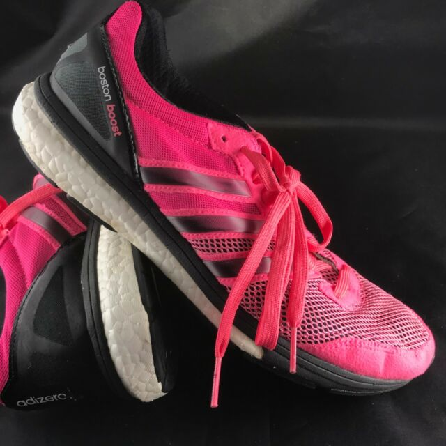 super popular 2d095 53ed6 Adidas Excellent Boston Boost Pink Black Women 8.5 40 2 3 EUR Racing Flats