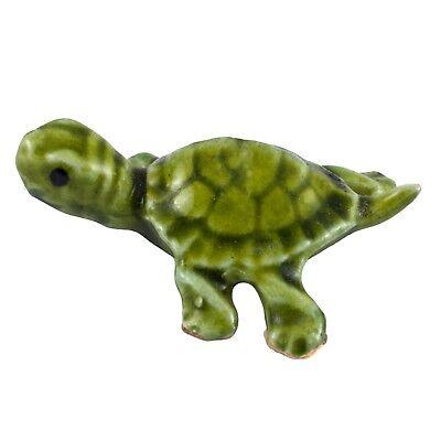 Green Mama Turtle Miniature Ceramic Figurine Made in USA by Hagen-Renaker