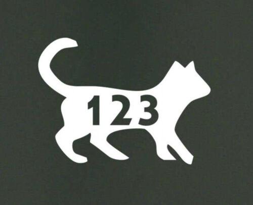 Sticky Self Adhesive CAT Animal Vinyl Wheelie Bin Number STICKER DECAL STENCIL