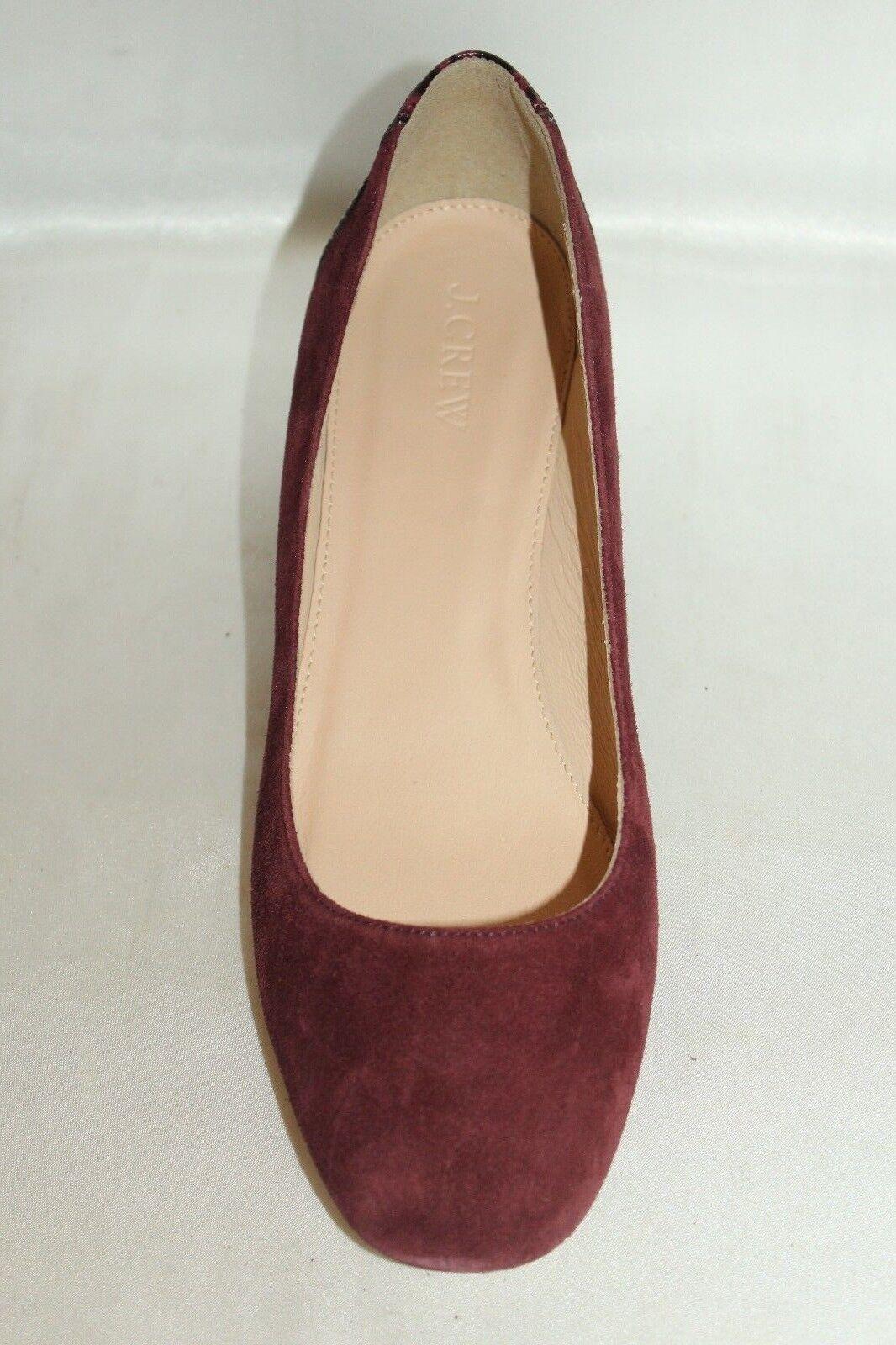 NEW! J CREW Wine Suede & Croc Croc & Pelle Low Heel Classic Pumps Heels 8  219 3a712e