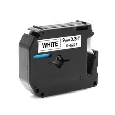 US STOCK 2PK MK-221 Black on White Label Tape 9mm 8M for Brother PT-85 PT-90