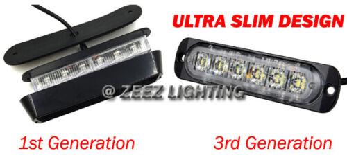 1X 6 LED Amber/&White Emergency Hazard Warning Strobe Beacon Caution Light Bar#99