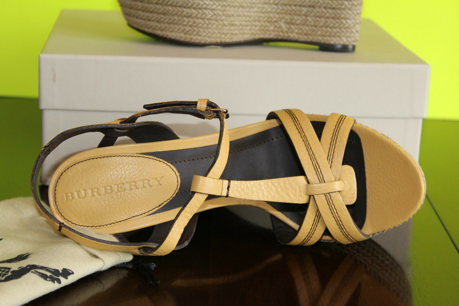 Burberry Tweed Tweed Burberry Cuero Plataforma Alpargata Amarillo  10us  551 36e194