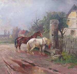 Astudin-von-Johanna-1867-1926-PFERDE-an-der-Traenke-Braubach-Lahnstein-SCHIMMEL