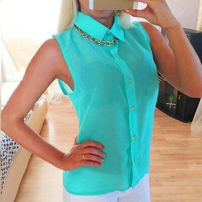 Sexy Womens Summer Loose Casual Chiffon Sleeveless Vest Shirt Tops Blouse
