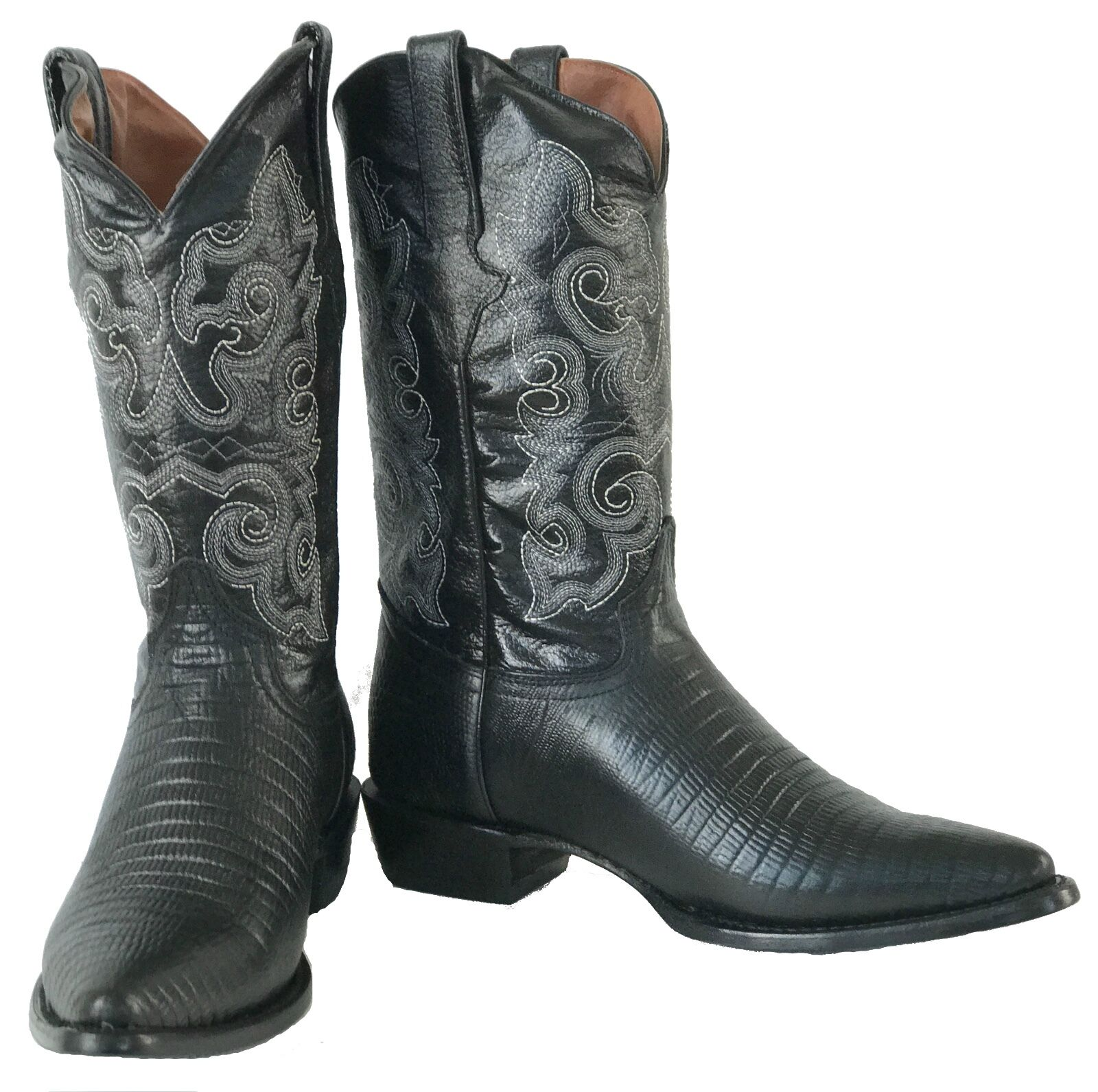 Men's New Exotic Exotic Exotic Lizard Design Leather Cowboy Western Rodeo stivali nero J Toe 4d2aba