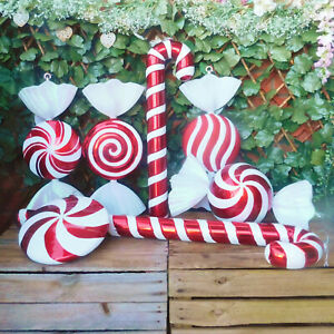 Giant Red White Glitter Candy Cane Or Sweet Christmas Tree Display Decorations Ebay