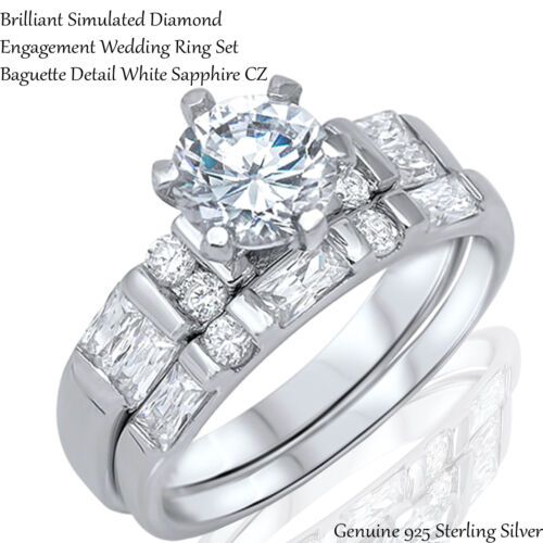 Brilliant Cut White Sapphire CZ Wedding Engagement Sterling Silver Ring Set