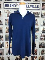 Brandy Melville Blue Cotton Zipper Collared Knit Pull Over Sweater