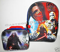 """STAR WARS SCHOOL BACKPACK 16"""" AND LUNCH BAG INSULATED STORM TROOPER SET KYLO REN"""