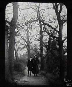 Glass-Magic-Lantern-Slide-EDWARDIAN-LADY-WITH-BOY-IN-WOODS-C1910